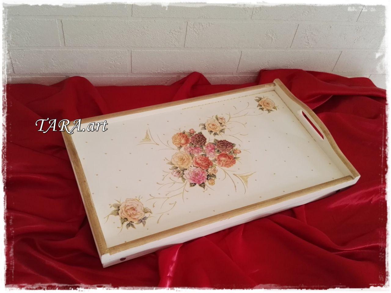 Taca - stolik śniadaniowy, kwiaty złocenia